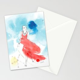 Christmas girl in the snow Stationery Cards