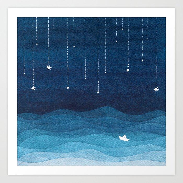 Falling stars, blue, sailboat, ocean Art Print