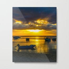 Golden Sunset in Mauritius Metal Print