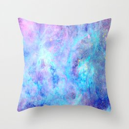 Bright Tarantula Nebula Aqua Lavender Periwinkle Throw Pillow