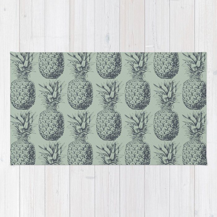 Pineapple, tropical fruit pattern design Rug