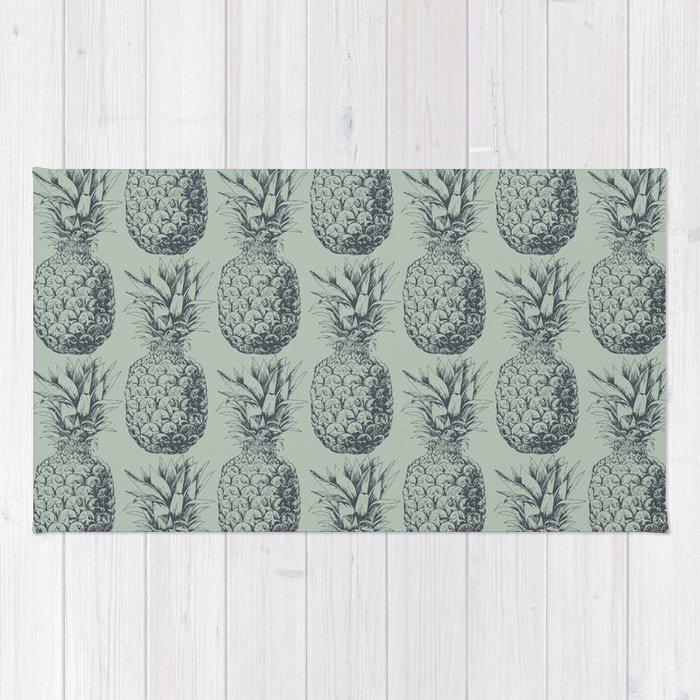Pineapple, tropical fruit pattern design Rug