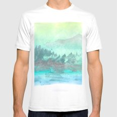 Green Mountain Mens Fitted Tee MEDIUM White