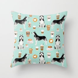Husky coffee siberian husky owners gifts for dog person dog breed portraits by pet friendly Throw Pillow