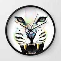 cheetah Wall Clocks featuring Cheetah  by Tetevi Teteh