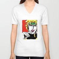 jojo V-neck T-shirts featuring Dio Brando from anime/ manga Jojo Bizarre Adventures by Starostina Alexandra (Himura-mechniza)