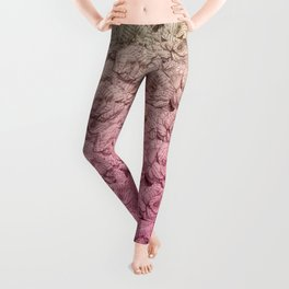 Pastel Pink Ombre Book Flowers Leggings