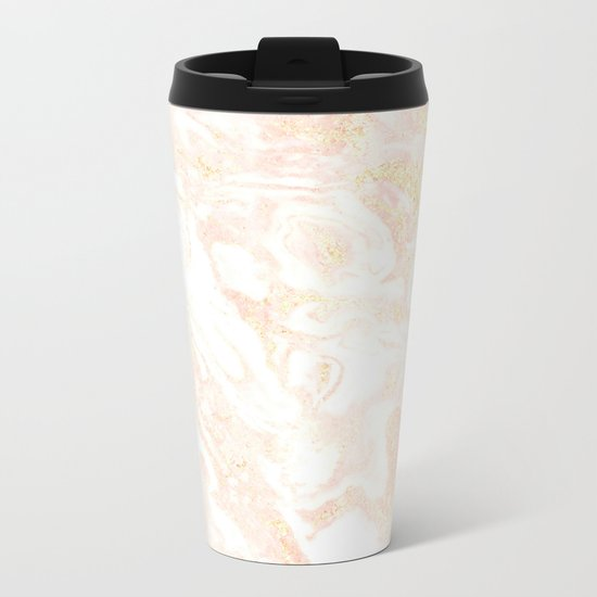 White Marble Pastel Pink and Gold by Nature Magick Metal Travel Mug