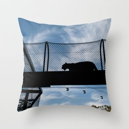 Silhouette of a Medium Sized Cat Throw Pillow