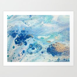 Under the Sea - Blue Abstract Acrylic Pour Art Art Print