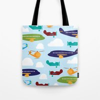 aviation Tote Bags featuring Aviation Airplanes Helicopter by cindybee