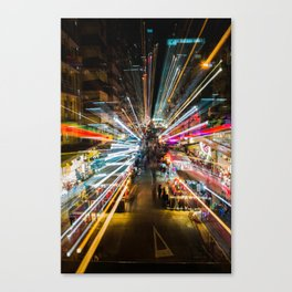 Neon Lights at the Hong Kong Night Market Canvas Print
