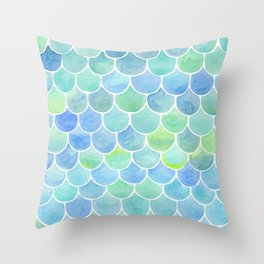 watercolor blue squama cells Throw Pillow