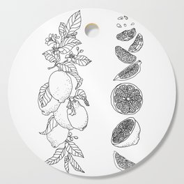 Citrus Branch of Lemons and Slices of Fruit Cutting Board