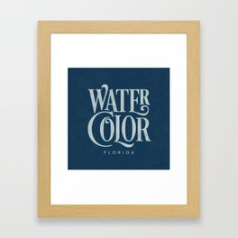 Watercolor, FL Typography (Blue) Framed Art Print