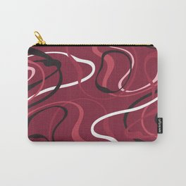 Pink Red Black And White Swirls On Cranberry Abstract Design Carry-All Pouch