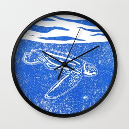 Under the surface, a diving leatherback Wall Clock