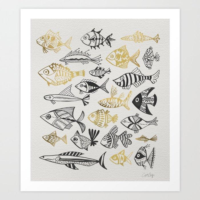 Inked Fish – Black & Gold Art Print