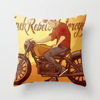 rebel Throw Pillows featuring Rebel by Salva Laserna