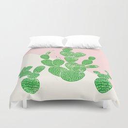 Linocut Cacti Family Duvet Cover