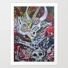 Unicorn in the Boneyard Art Print