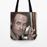 rick grimes Tote Bags featuring Rick Grimes  Walking Dead by Kenneth Shinabery