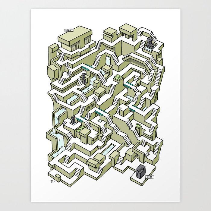 Brutalist Maze Art Print