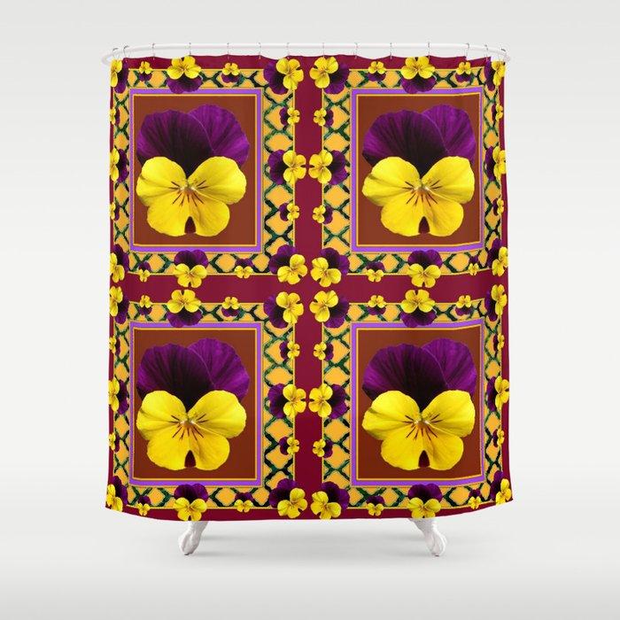 MAROON QUATREFOIL PURPLE YELLOW SPRING PANSIES Shower Curtain By Sharlesart