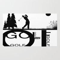 golf Area & Throw Rugs featuring Golf, golf, golf! b&w by South43