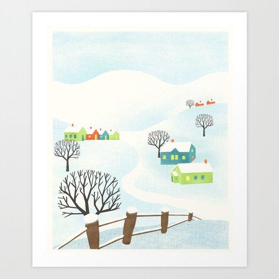 Snowy Little Town Art Print