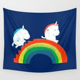 Unicorn on rainbow slide Wall Tapestry