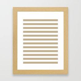 Narrow Horizontal Stripes - White and Khaki Brown Framed Art Print