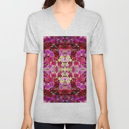 PINK ART DESIGN  OF PINK & RED HOLLYHOCKS  GARDEN Unisex V-Neck
