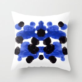 Periwinkle Purple Blue And Black Ink Blot Diagram Throw Pillow