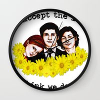 the perks of being a wallflower Wall Clocks featuring Perks of being a Wallflower by Lydia Dick