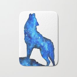 Howling Wolf | Space Wolf | Double Exposure Wolf | Wolf Painting | Blue Wolf Bath Mat