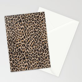 Animal Print, Spotted Leopard - Brown Black Stationery Cards