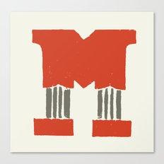 M Lettering Canvas Print
