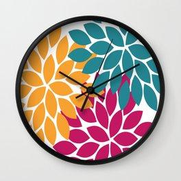 Bold Colorful Orange Navy Pink Dahlia Flower Burst Petals Wall Clock