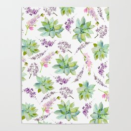 Blush lavender pink green watercolor cactus floral Poster