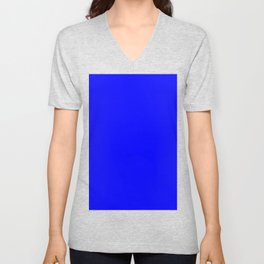 Blue #0000FF Unisex V-Neck