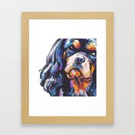 black and tan Cavalier King Charles Spaniel Dog Portrait Pop Art painting by Lea Framed Art Print
