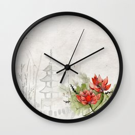 Ink Sketch Pagoda and Red Flowers Wall Clock