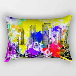 building of the hotel and casino at Las Vegas, USA with blue yellow red green purple painting abstra Rectangular Pillow
