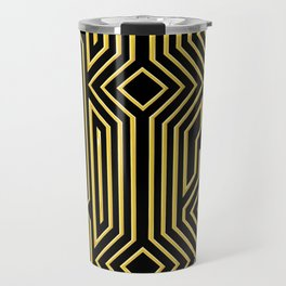 3-D Art Deco Gold Architectural Style Pattern Travel Mug