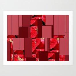 Mottled Red Poinsettia 2 Art Rectangles 8 Art Print