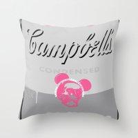 banksy Throw Pillows featuring Banksy Soup by Ken Surman