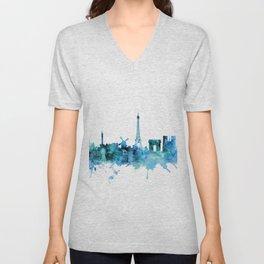 Paris France Skyline Unisex V-Neck