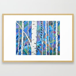 Sunset Sherbert Birch Forest by Mike Kraus - aspen trees forest woods nature surreal trippy colors Framed Art Print