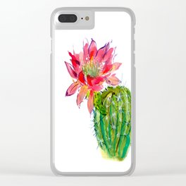 Blooming Dwarf Chin Cacti Clear iPhone Case